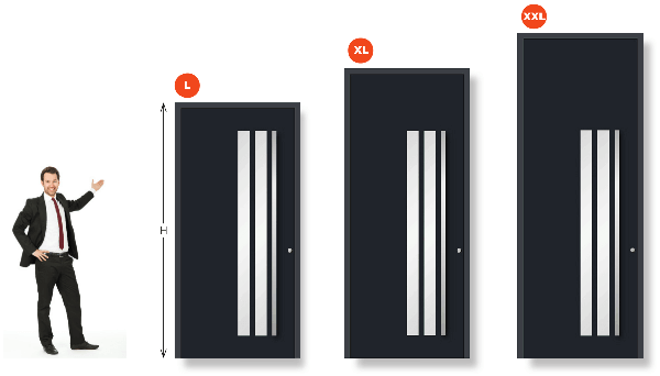 Diferentes alturas de puertas: L, XL y XXL