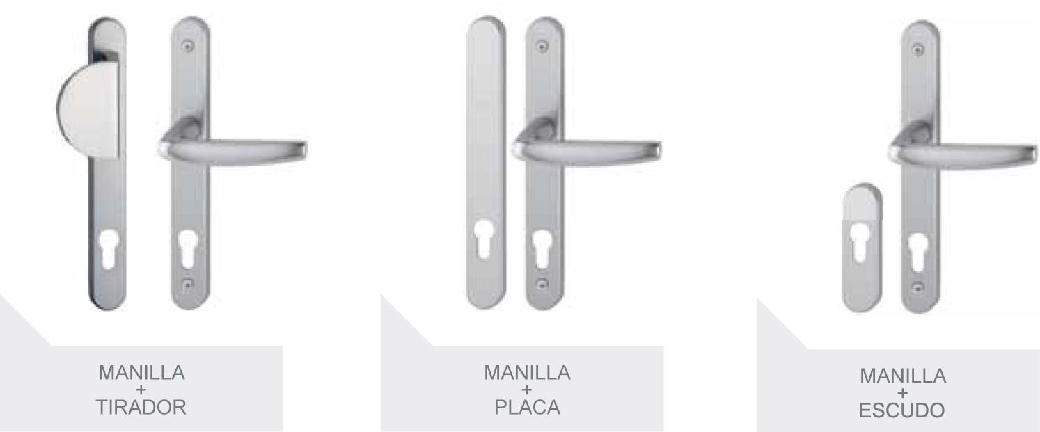 Manillas con tirador, placa y escudo